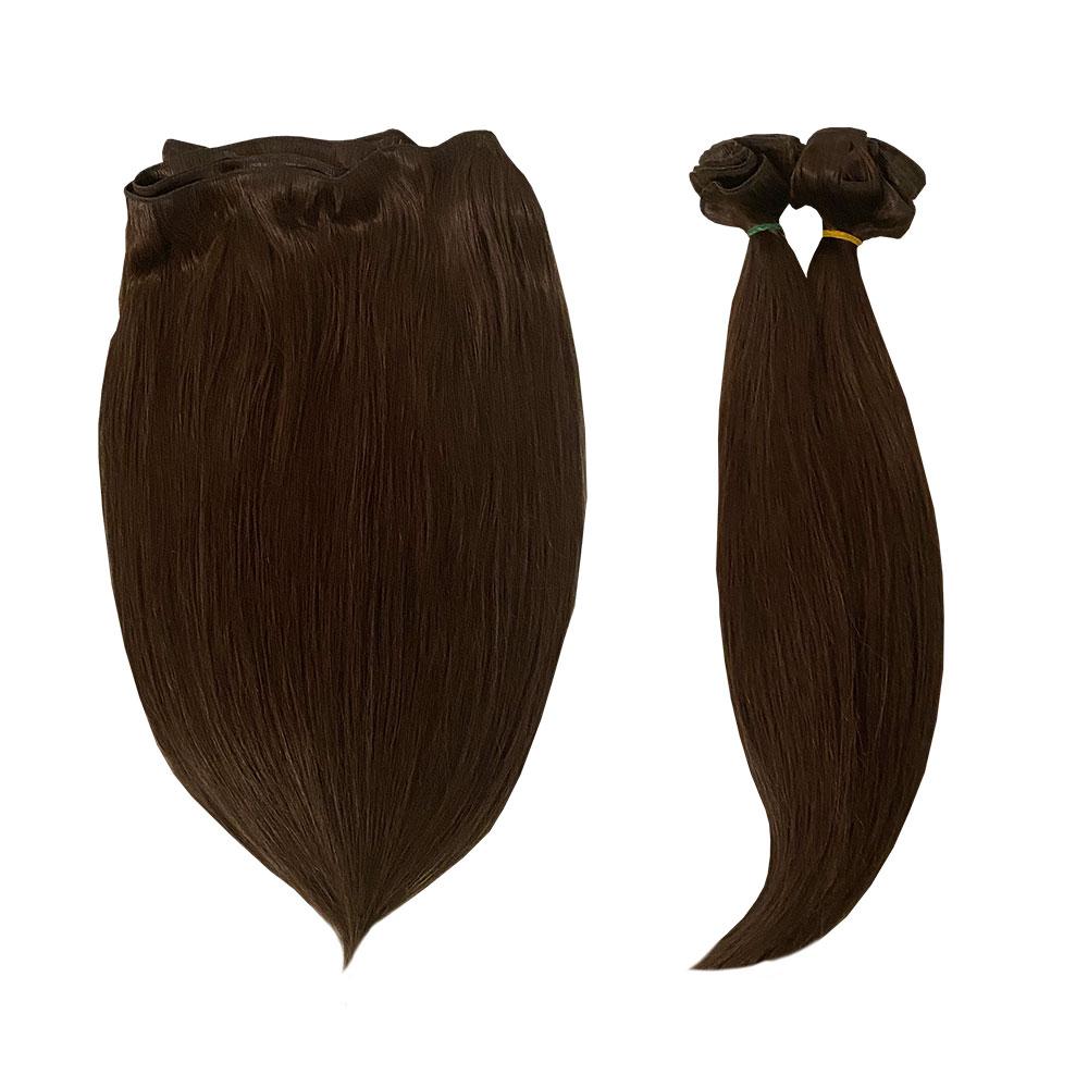 екстеншън тъмно кестенява коса